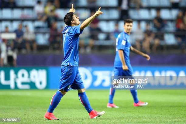 Riccardo Orsolini of Italy celebrates after scoring a goal during the FIFA U20 World Cup Korea Republic 2017 Semi Final match between Italy and...