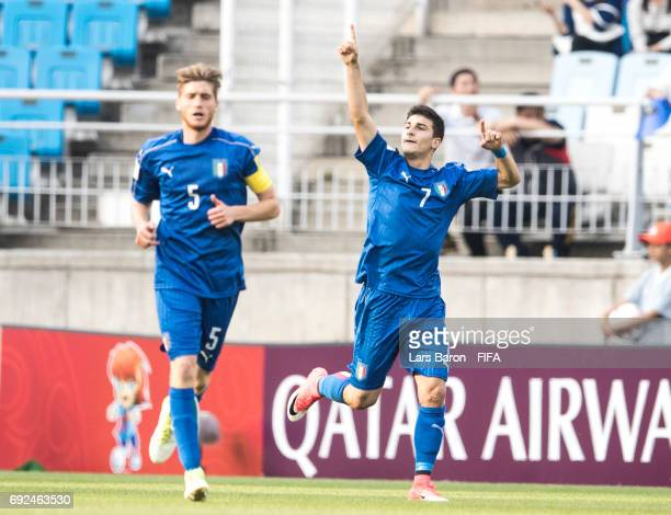 Riccardo Orsolini of Italy celebrates after scoring his teams first goal during the FIFA U20 World Cup Korea Republic 2017 Quarter Final match...