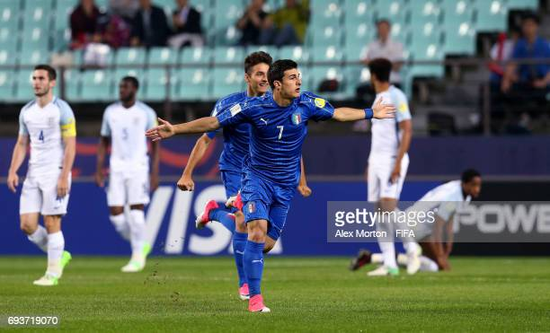 Riccardo Orsolini of Italy celebrates after scoring their first goal during the FIFA U20 World Cup Korea Republic 2017 Semi Final match between Italy...