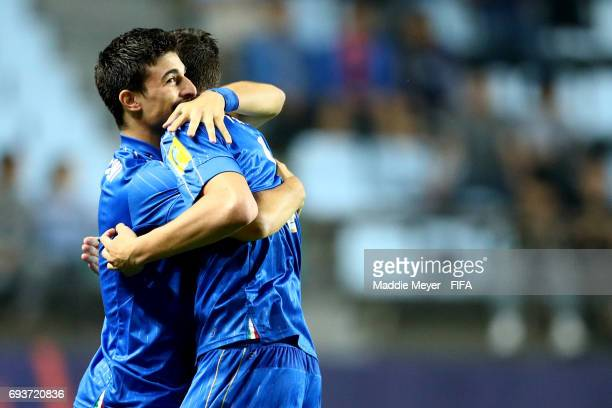 Riccardo Orsolini of Italy celebrates with Andrea Favilli after scoring a goal during the FIFA U20 World Cup Korea Republic 2017 Semi Final match...