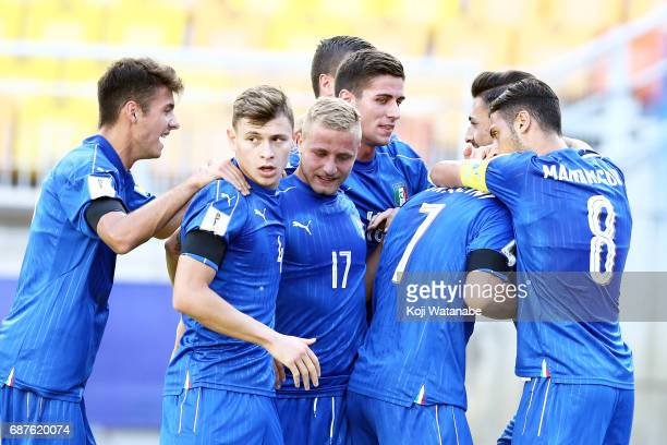 Riccardo Orsolini of Italy celebrte first goal with teammate during the FIFA U20 World Cup Korea Republic 2017 group D match between South Africa and...