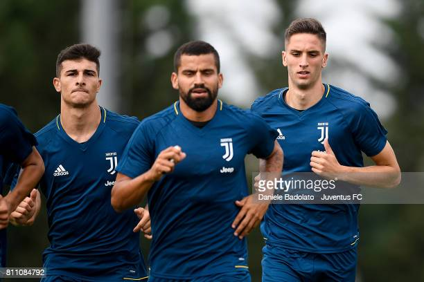 Riccardo Orsolini Rodrigo Bentancur of Juventus during a training session on July 9 2017 in Vinovo Italy