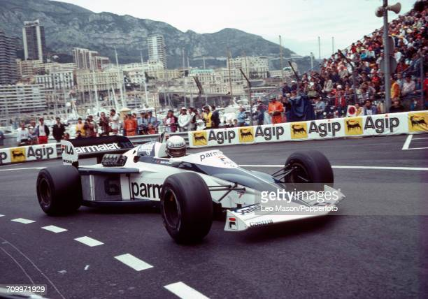 Riccardo Patrese of Italy in action driving a Brabham BT52 with a BMW M12 15 L4t engine for Fila Sport during the Monaco Grand Prix at Monte Carlo on...
