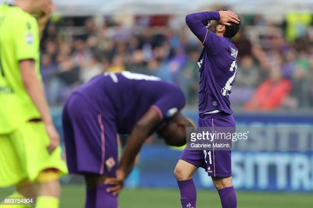 Riccardo Saponara and Khouma Babacar of ACF Fiorentina reacts during the Serie A match between ACF Fiorentina and Bologna FC at Stadio Artemio...