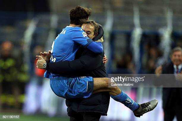 Riccardo Saponara and Marco Giampaolo of Empoli FC celebrate after scoring a goal during the Serie A match betweeen Empoli FC and Carpi FC at Stadio...