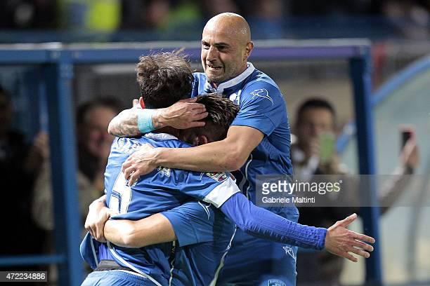 Riccardo Saponara Mirko Valdifiori and Massimo Maccarone of Empoli FC celebrates after scoring a goal during the Serie A match between Empoli FC and...