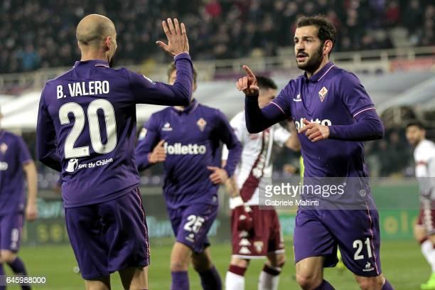Riccardo Saponara of ACF Fiorentina celebrates after scoring a goal during the Serie A match between ACF Fiorentina and FC Torino at Stadio Artemio...