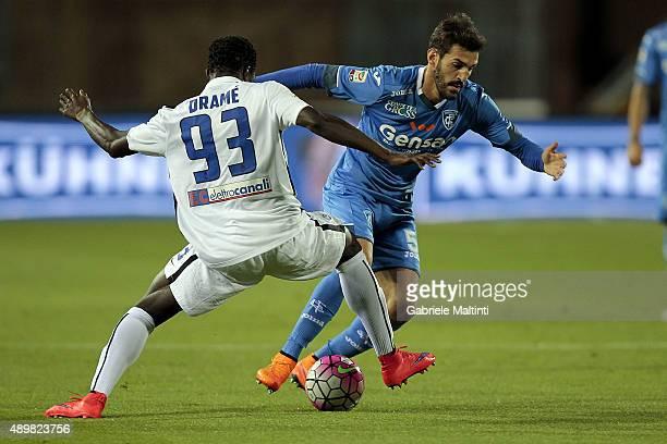 Riccardo Saponara of Empoli FC battles for the ball with Boukary Drame' of AC Atalanta BC during the Serie A match between Empoli FC and Atalanta BC...