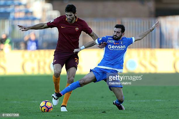 Riccardo Saponara of Empoli Fc in action agaist Federico Fazio during the Serie A match between Empoli FC and AS Roma at Stadio Carlo Castellani on...