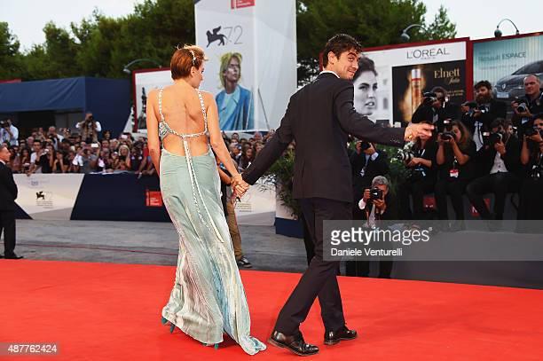 Riccardo Scamarcio and Valeria Golino attend a premiere for 'Per Amor Vostro' during the 72nd Venice Film Festival at Palazzo del Casino on September...