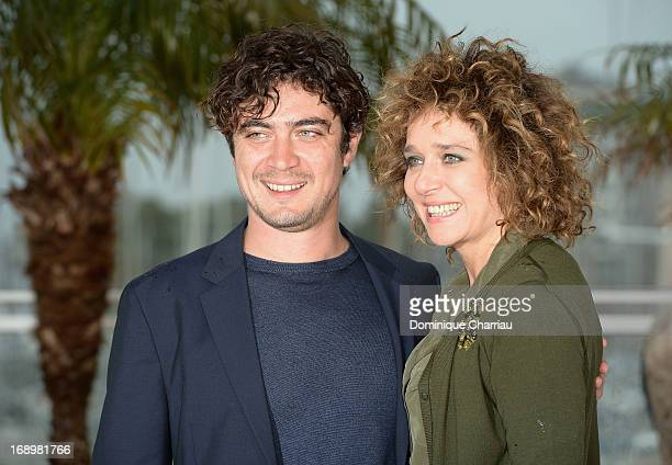 Riccardo Scamarcio and Valeria Golino attend the photocall for 'Miele' during The 66th Annual Cannes Film Festival at Palais des Festivals on May 18...