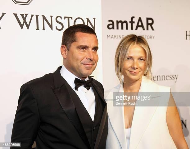 Riccardo Silva and Tatiana Silva attend the 2015 amfAR New York Gala at Cipriani Wall Street on February 11 2015 in New York City