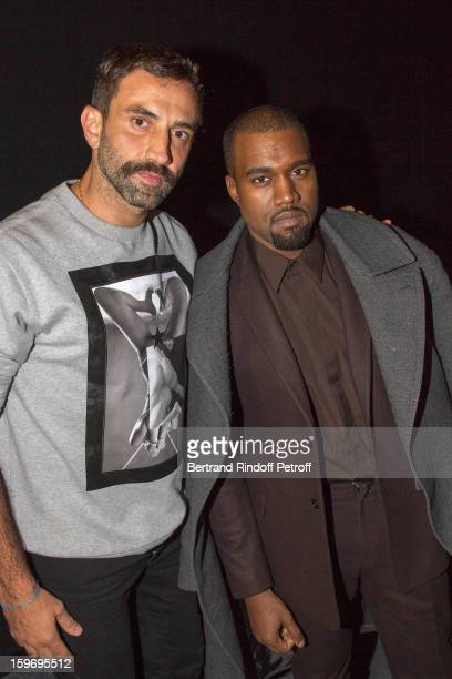 Riccardo Tisci and Kanye West attend the Givenchy Men Autumn / Winter 2013 show as part of Paris Fashion Week on January 18 2013 in Paris France