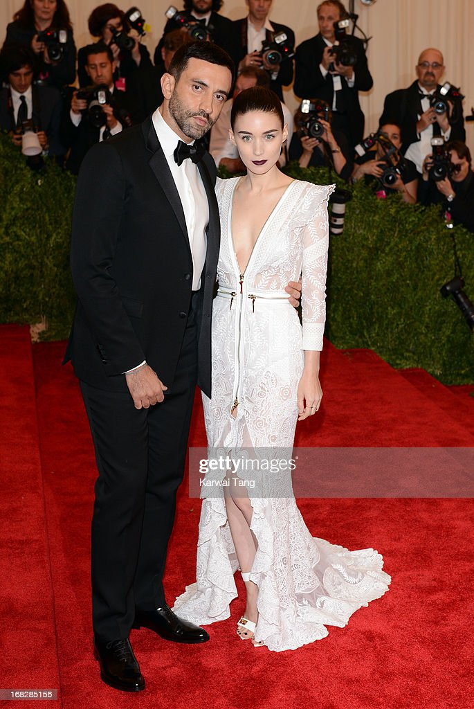 Riccardo Tisci and Rooney Mara attend the Costume Institute Gala for the 'PUNK: Chaos to Couture' exhibition at the Metropolitan Museum of Art on May 6, 2013 in New York City.