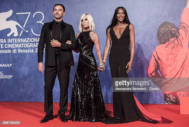 Riccardo Tisci Donatella Versace and Naomi Campbell attend the premiere of FRANCA Chaos and Creation during the 73rd Venice Film Festival on...