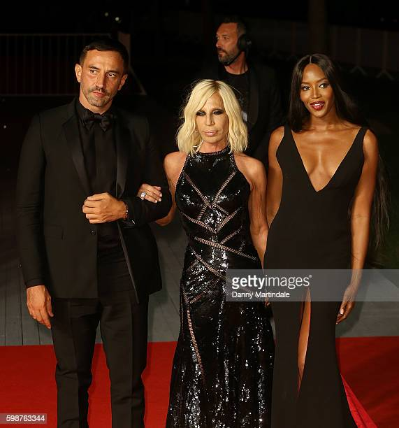 Riccardo Tisci Donatella Versace and Naomi Campbell attends the premiere of 'Franca Chaos And Creation' during the 73rd Venice Film Festival at Sala...