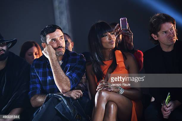 Riccardo Tisci Naomi Campbell and Christopher Kane attend the Versace show during the Milan Fashion Week Spring/Summer 2016 on September 25 2015 in...