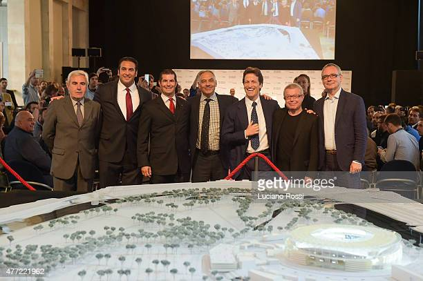 Riccardo Viola Italo Zanzi Mark Pannes James Pallotta Luca Parnasi Daniel Liebskind and Andreas Kipar An before the model of AS Roma new stadium on...