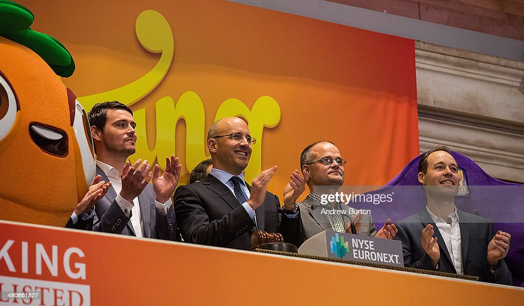 Riccardo Zacconi (second from left), CEO of King, celebrates after ringing the opening bell at the New York Stock Exchange (NYSE), in honor of King holding its initial public offering at the NYSE on March 26, 2014 in New York City. King is the maker of the popular mobile game Candy Crush.