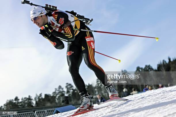 Ricco Gross of Germany competes during the IBU Biathlon World Cup Men's 125 km Pursuit on March 25 2006 in Holmenkollen Norway