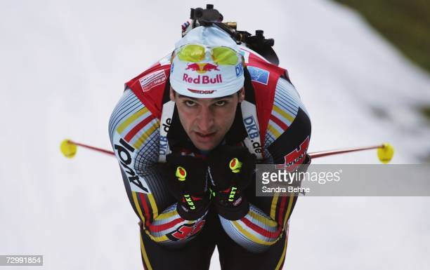 Ricco Gross of Germany competes during the men's 10 km sprint in the Biathlon World Cup on January 13 2007 in Ruhpolding Germany