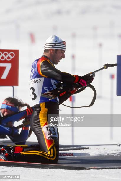 Ricco Gross of Germany competes in the Men's 20 kilometer event of the Biathlon competition of the 2002 Winter Olympic Games on February 11 2002 at...