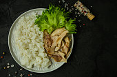 rice and boiled chicken