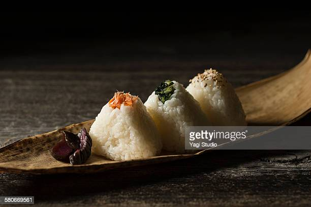 Rice balls and japanease pickles