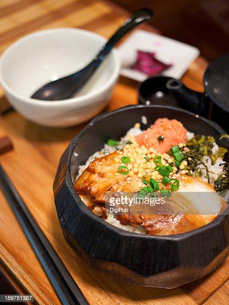 Rice bowl with pork and pollock roe toppings