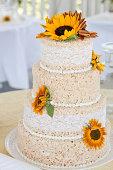 Rice Crispies Wedding Cake with Sunflowers