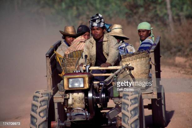 Rice farmers drive home in a minitractor after harvesting the rice in Surin Province in the northeast of Thailand Whilst in some parts of the country...