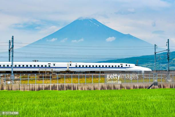 Rice Fieild with Bullet Train and Fuji Mountain in Summer