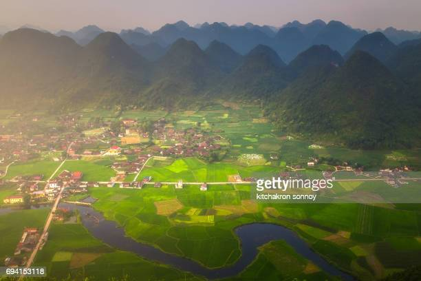 Rice field in valley in Bac Son Viewpoint at Lang Son in Vietnam Rainy Season