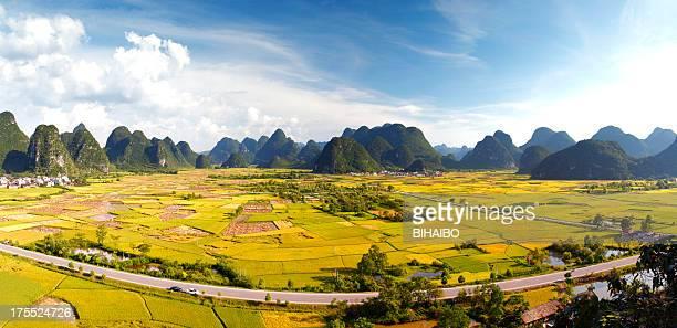 ライスフィールドに huixian タウン、鎮遠は中国の桂林