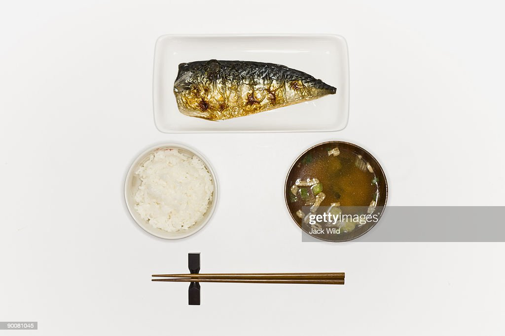 rice grileld fish and miso soup : Stock Photo