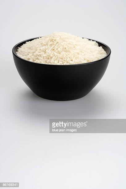 Rice in a black bowl