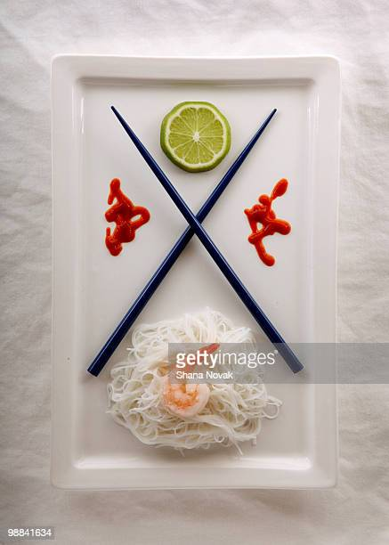 Rice Noodles with Shrimp and Hot Sauce