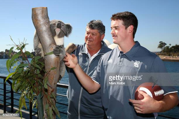 Rice Owls head coach David Bailiff and Jack Fox of the Rice Owls pose with Tabbi the koala during the 2017 US College Football Sydney Cup Launch at...