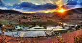 Beautiful panorama of the landscape of Madagascar with rice plantations and a nice cloudscape
