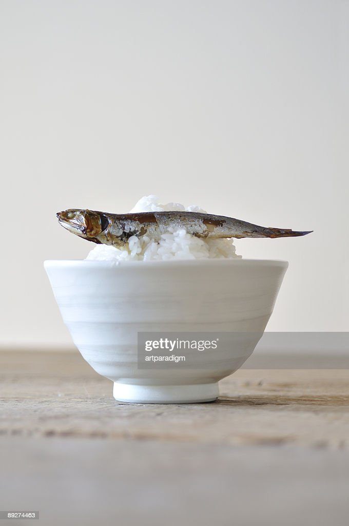 A rice putted on dried sardine : Stock Photo