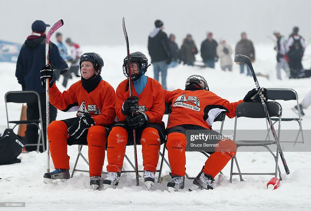 Rice Roni players wait for their turn on the ice in the championship game of the 2013 USA Hockey Pond Hockey National Championships on February 10, 2013 in Eagle River, Wisconsin. The three day tournament features 2,400 participants from 30 states playing a round robin tournament on 28 rinks laid out on Dollar Lake.
