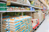 Rice shelves in Supermarket store blurred background