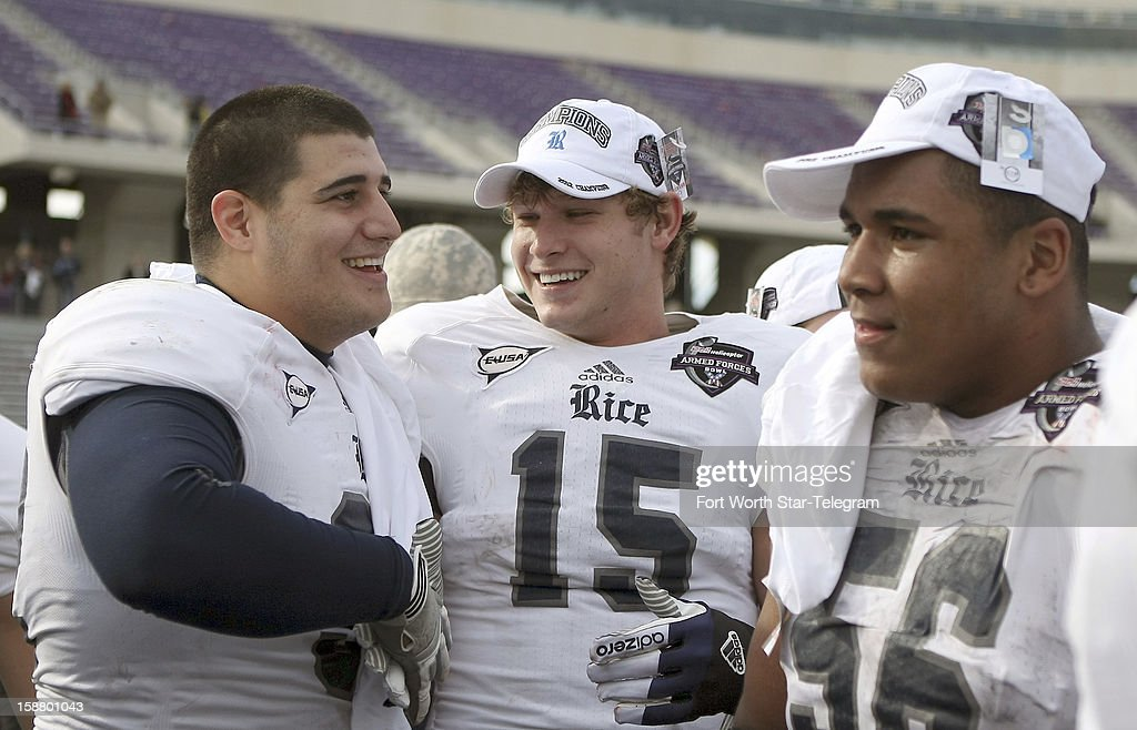 Rice wide receiver Jordan Taylor (15) celebrates with teammates after defeating Air Force in the Bell Helicopter Armed Forces Bow, 33-14,l in Fort Worth, Texas, Saturday, December 29, 2012. Taylor was voted the game's MVP.