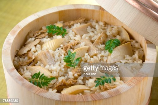Rice with bamboo shoots : Stock Photo