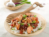 Delicious rice with chicken sauce, selective focus