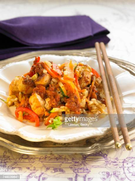 Rice with chicken,tomato,red pepper and ginger