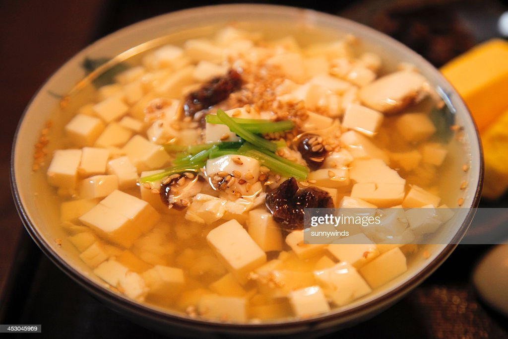 Rice with tofu in tea : Stock Photo