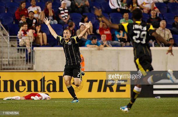 Rich Balchan of the Columbus Crew celebrates after scoring the game tying goal in extra time against the New York Red Bulls on June 4 2011 at Red...