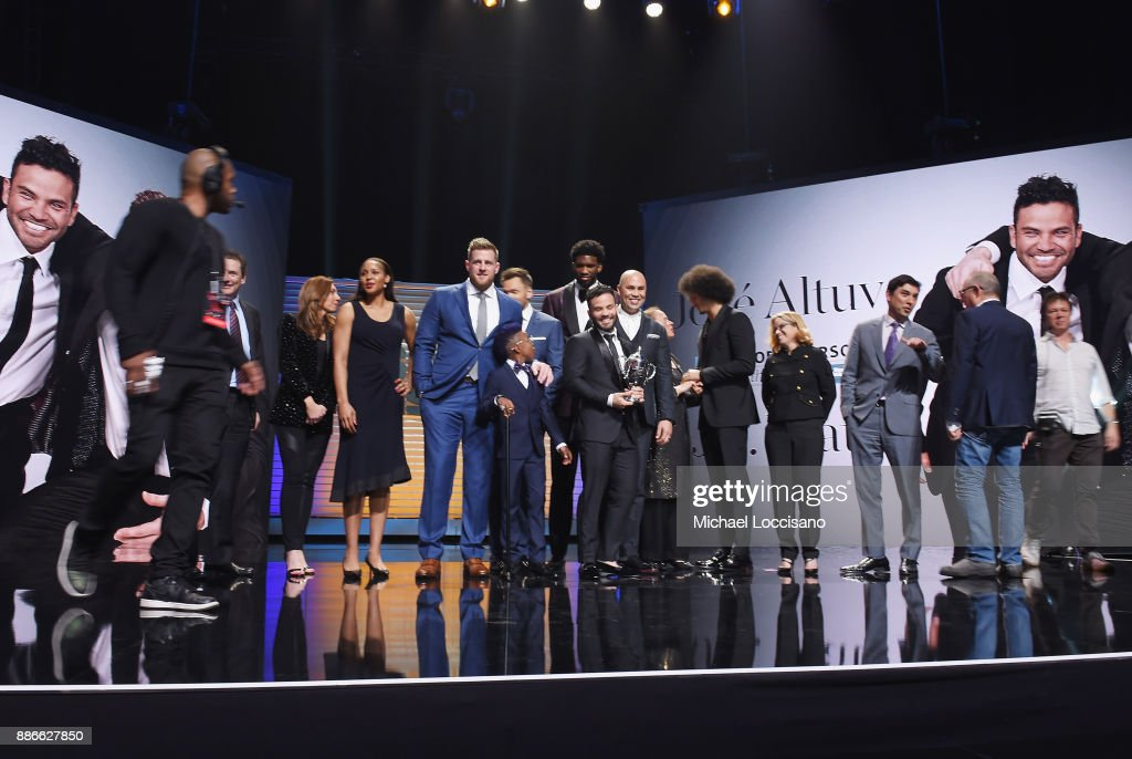 Rich Batista, Maggie Gray, Maya Moore, J.J. Watt, Bunchie Young, Joel McHale, Joel Embiid, Jose Altuve, Carmen Yulin Cruz, Colin Kaepernick, Carlos Beltran and Chris Stone attend SPORTS ILLUSTRATED 2017 Sportsperson of the Year Show on December 5, 2017 at Barclays Center in New York City. Tune in to NBCSN on December 8 at 8 p.m. ET or Univision Deportes Network on December 9 at 8 p.m. ET to watch the one hour SPORTS ILLUSTRATED Sportsperson of the Year special.