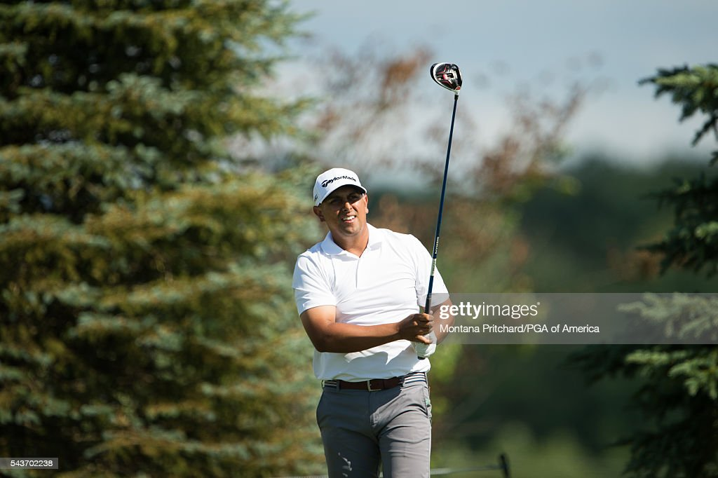 Rich Berberian hits his tee shot on the 13th hole during the final round of the 49th PGA Professional Championship at the Atunyote Golf Club on June 29, 2016 in Vernon, New York.